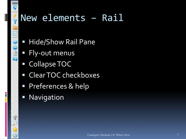 New elements – Rail