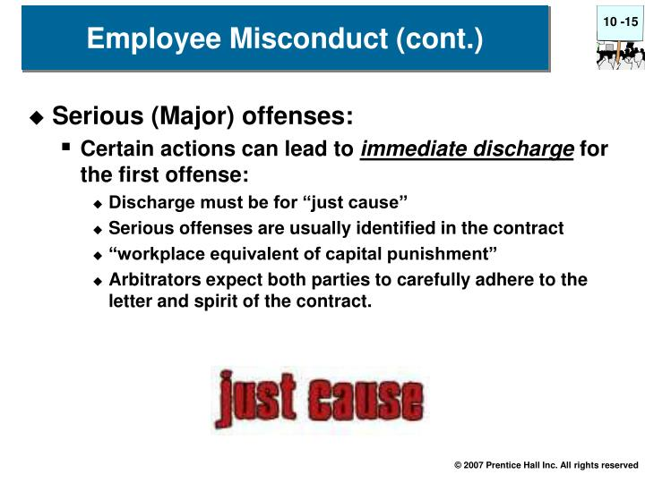 Employee Misconduct (cont.)