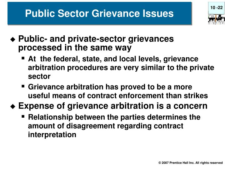 Public- and private-sector grievances processed in the same way