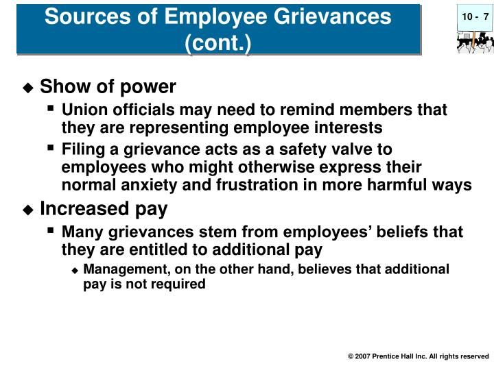 Sources of Employee Grievances (cont.)