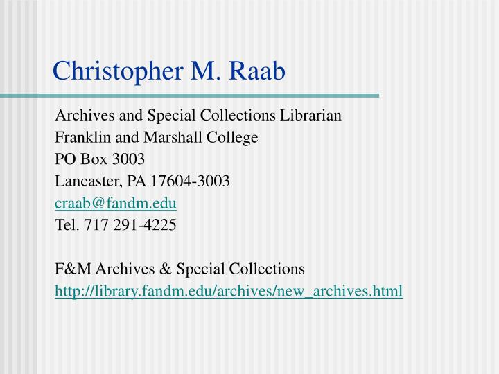 Archives and Special Collections Librarian