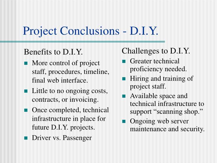 Benefits to D.I.Y.