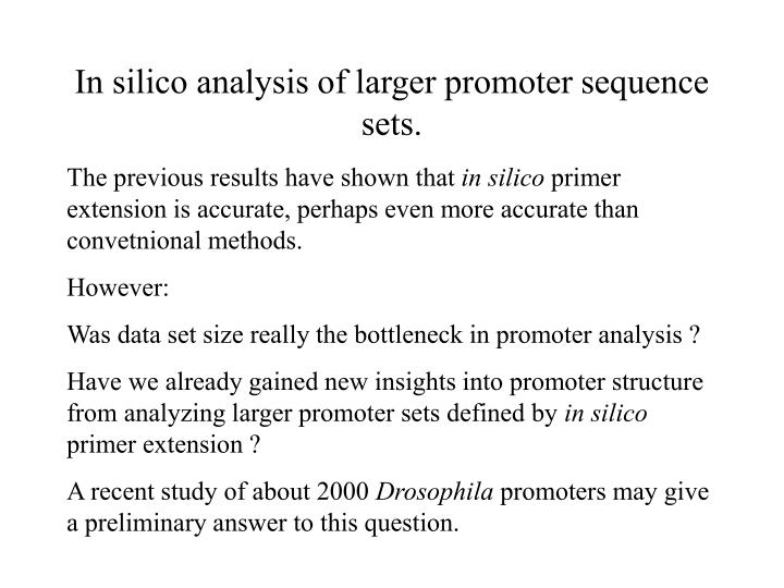 In silico analysis of larger promoter sequence sets.