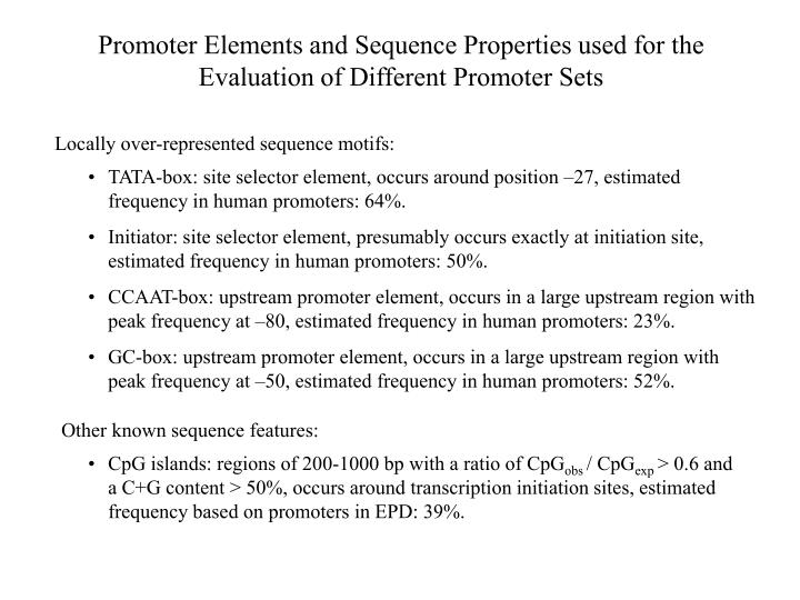 Promoter Elements and Sequence Properties used for the Evaluation of Different Promoter Sets