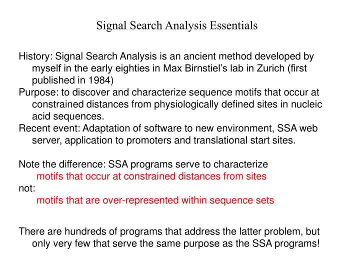 Signal Search Analysis Essentials