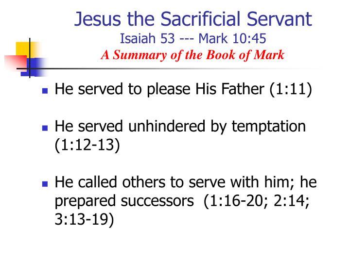 Jesus the Sacrificial Servant