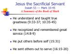 jesus the sacrificial servant isaiah 53 mark 10 45 a summary of the book of mark9