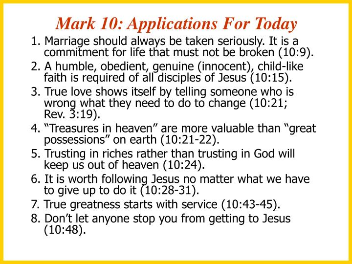 Mark 10: Applications For Today