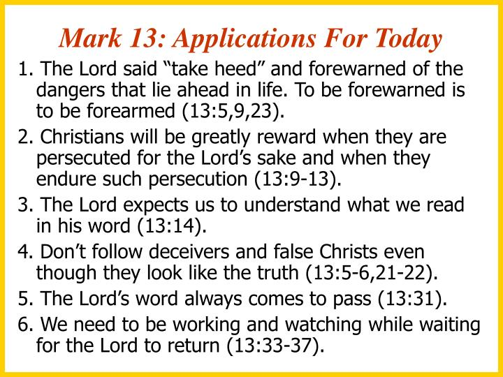 Mark 13: Applications For Today