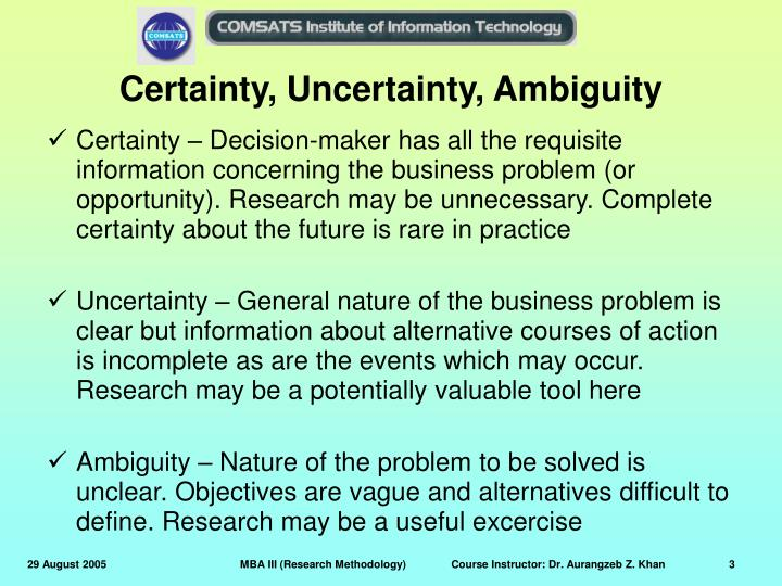 Certainty, Uncertainty, Ambiguity