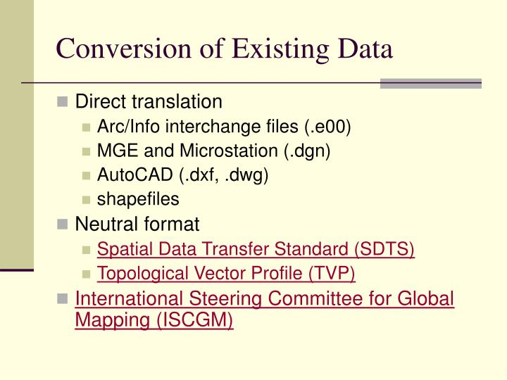 Conversion of Existing Data
