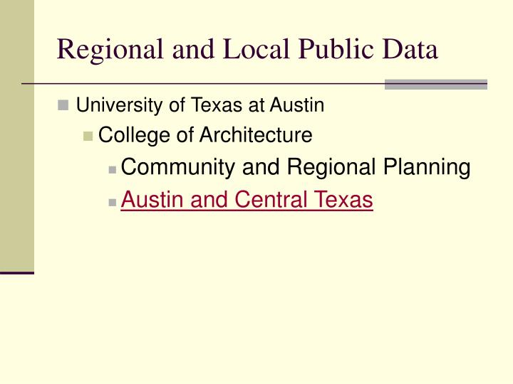 Regional and Local Public Data