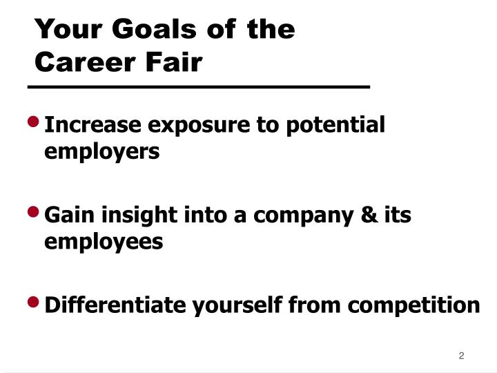 Your goals of the career fair