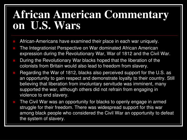 African American Commentary on  U.S. Wars