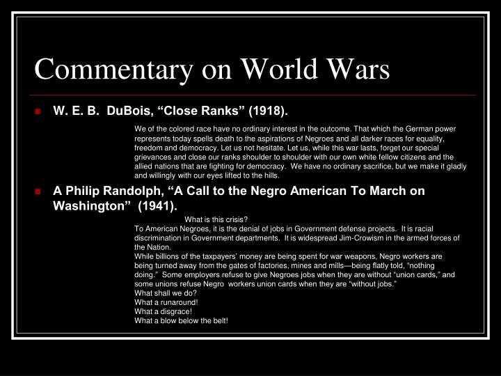 Commentary on World Wars