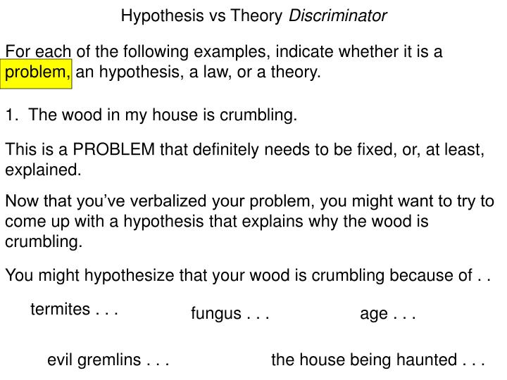 Hypothesis vs theory discriminator1
