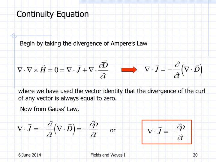 Continuity Equation