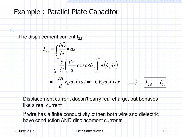 Example : Parallel Plate Capacitor