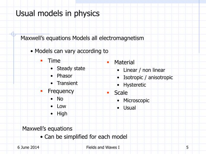 Usual models in physics