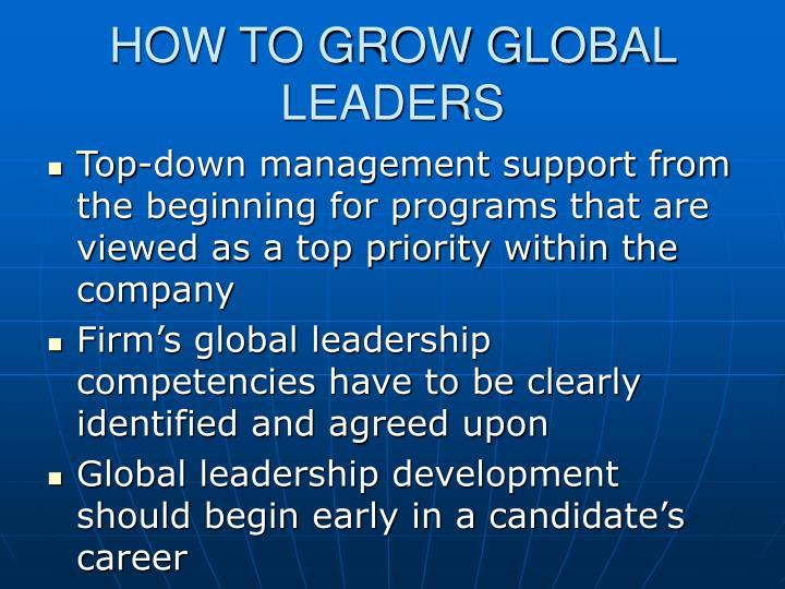 HOW TO GROW GLOBAL LEADERS