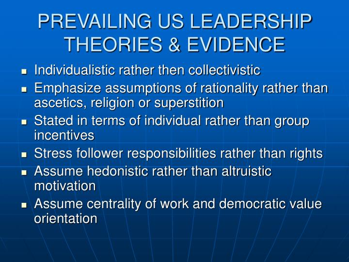 PREVAILING US LEADERSHIP THEORIES & EVIDENCE