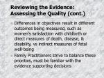 reviewing the evidence assessing the quality cont