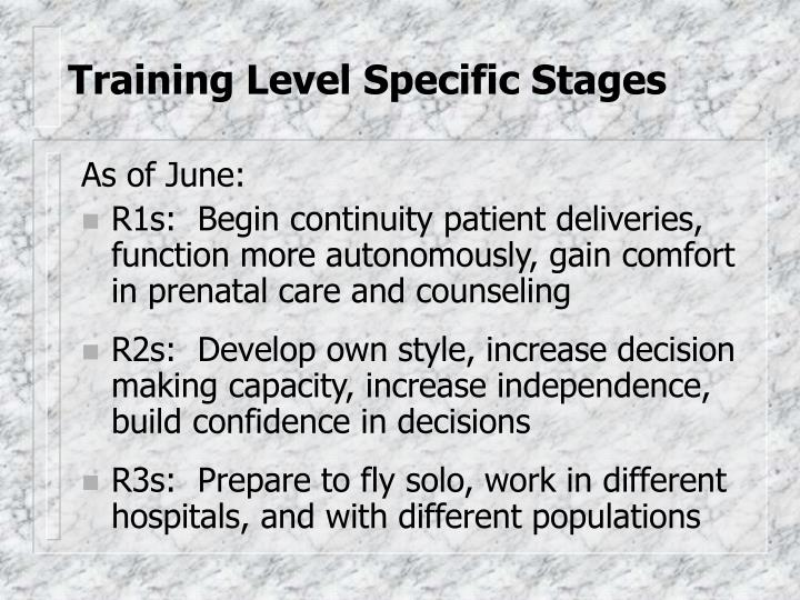 Training level specific stages