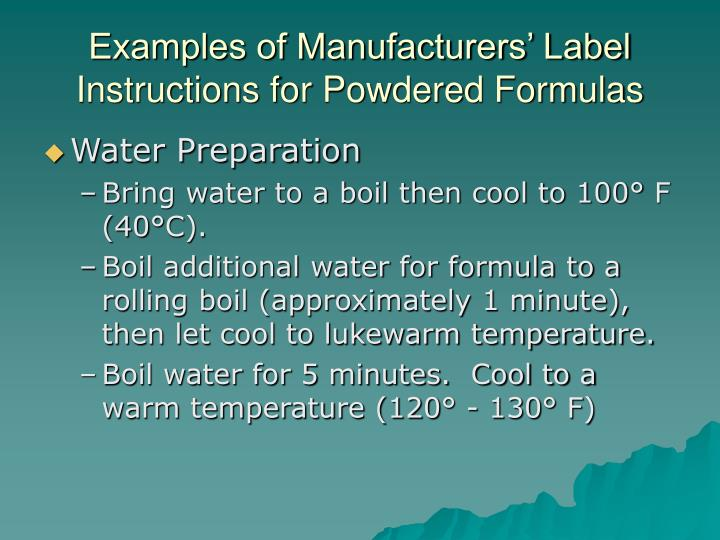Examples of Manufacturers' Label Instructions for Powdered Formulas