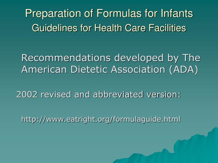 Preparation of Formulas for Infants