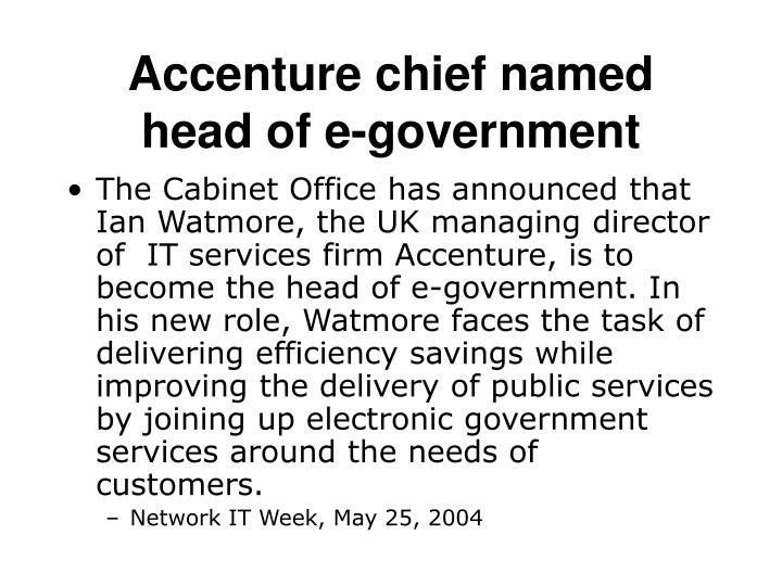Accenture chief named head of e-government