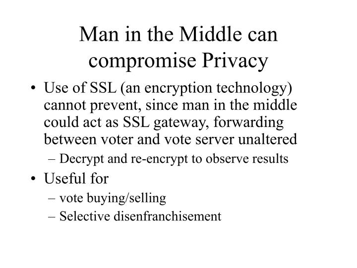 Man in the Middle can compromise Privacy