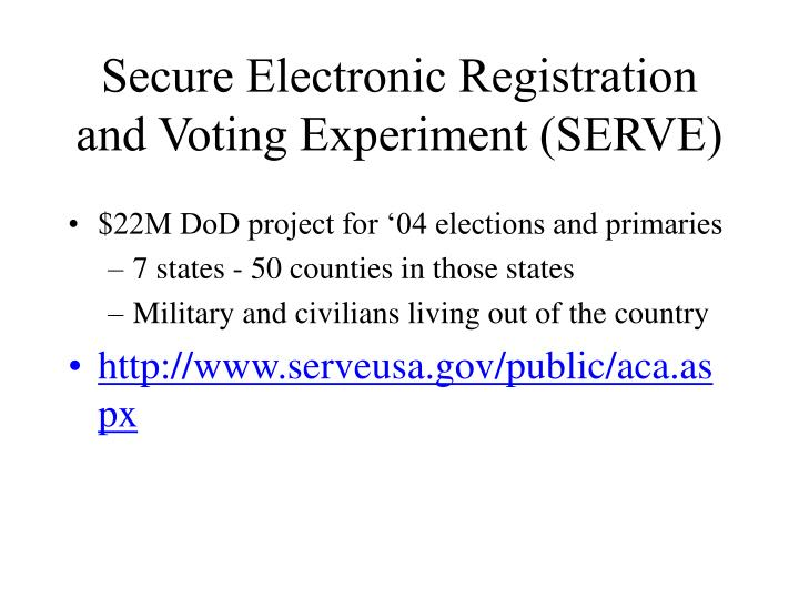 Secure Electronic Registration and Voting Experiment (SERVE)