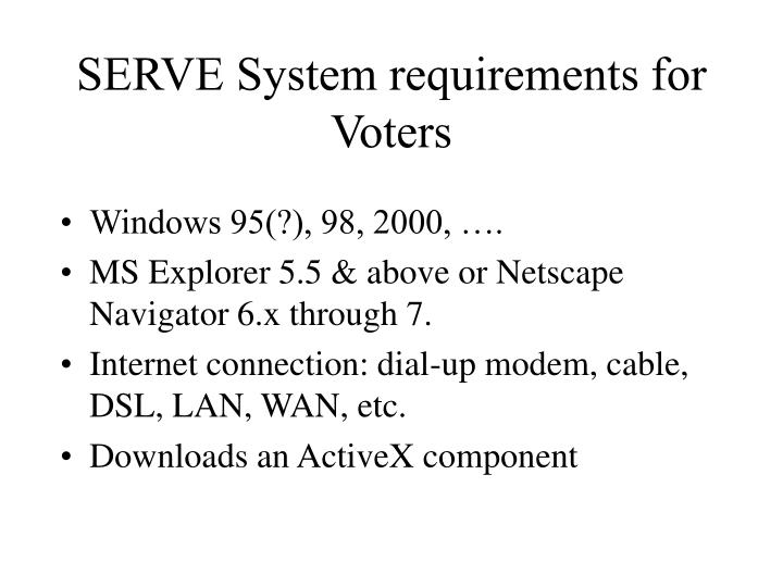 SERVE System requirements for Voters