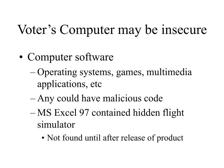 Voter's Computer may be insecure
