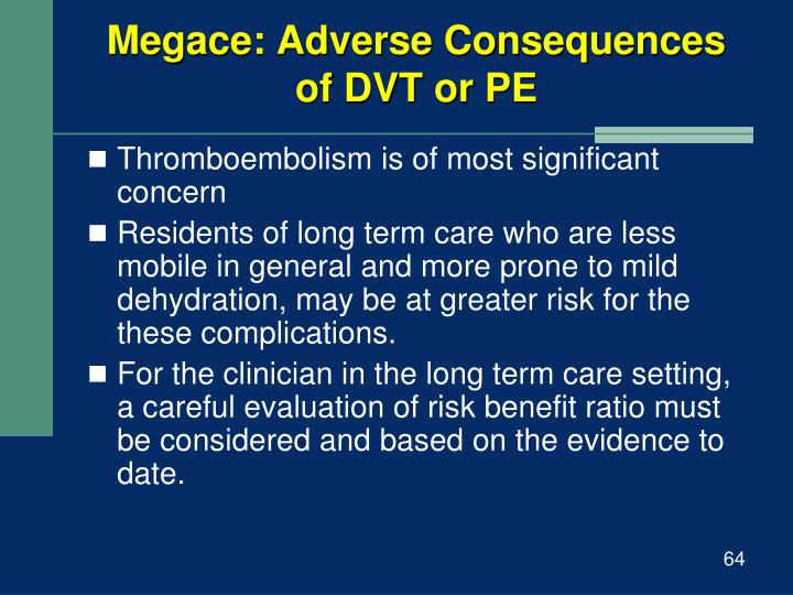 Megace: Adverse Consequences of DVT or PE