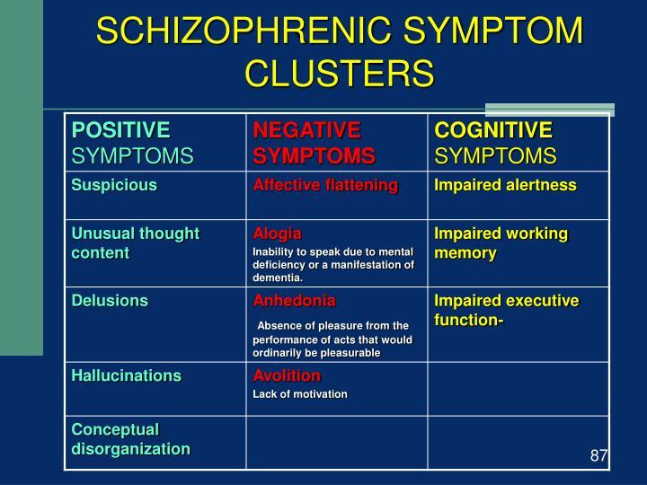 SCHIZOPHRENIC SYMPTOM CLUSTERS