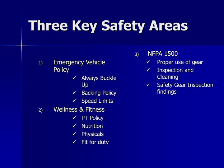 Three key safety areas