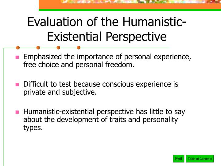 Evaluation of the Humanistic-Existential Perspective