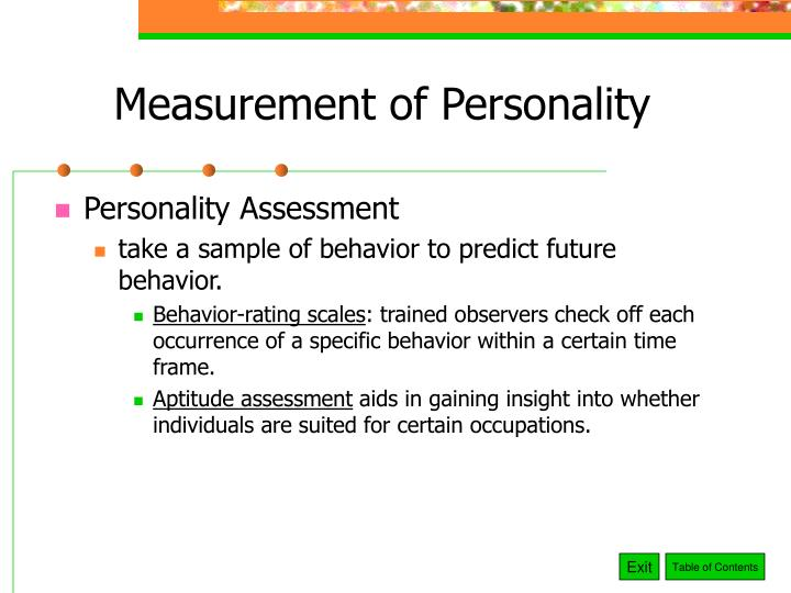 Measurement of Personality
