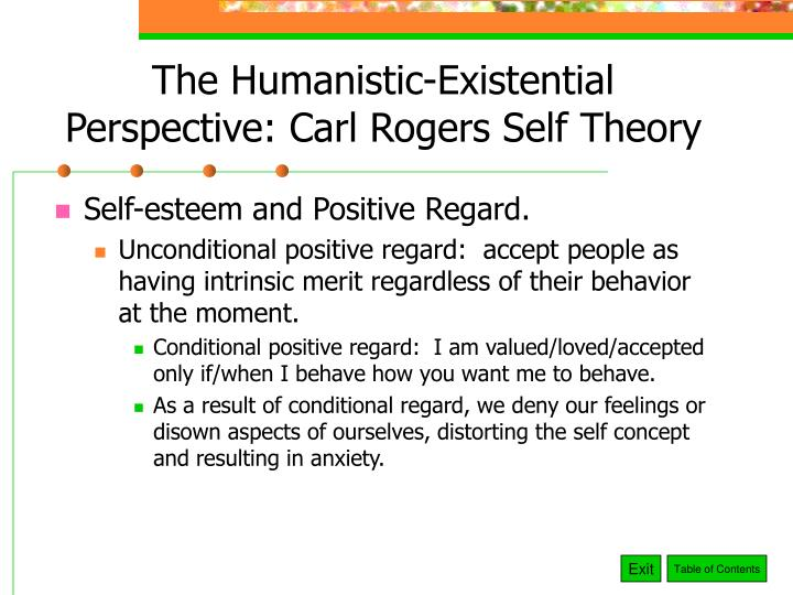 The Humanistic-Existential Perspective: Carl Rogers Self Theory