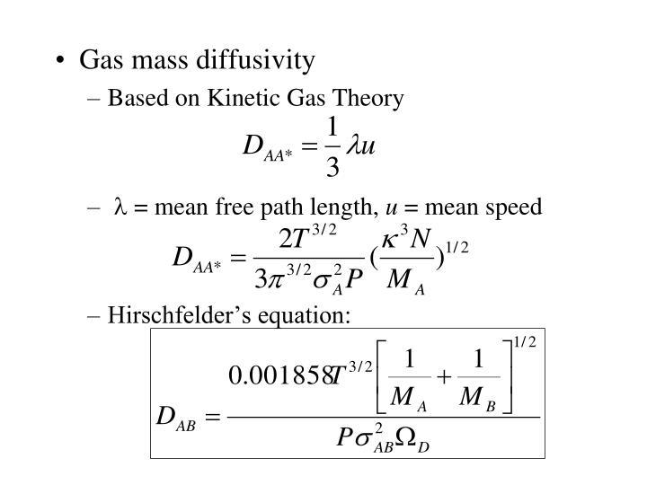 Gas mass diffusivity