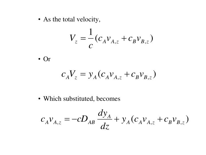 As the total velocity,