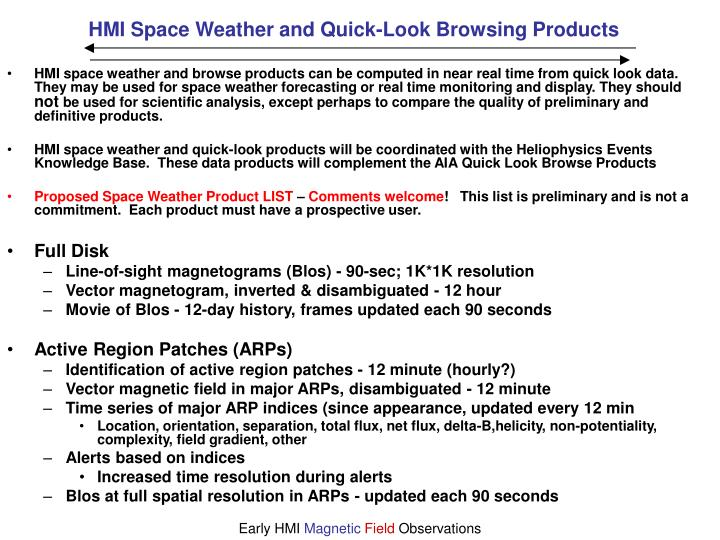 HMI Space Weather and Quick-Look Browsing Products