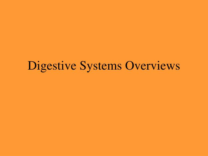 Digestive Systems Overviews
