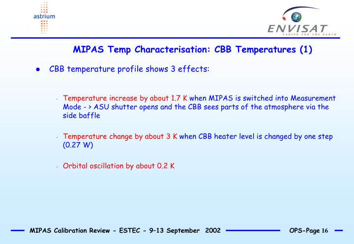 MIPAS Temp Characterisation: CBB Temperatures (1)