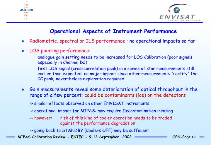 Operational Aspects of Instrument Performance