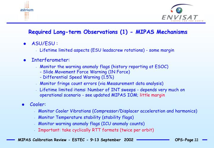 Required Long-term Observations (1) - MIPAS Mechanisms