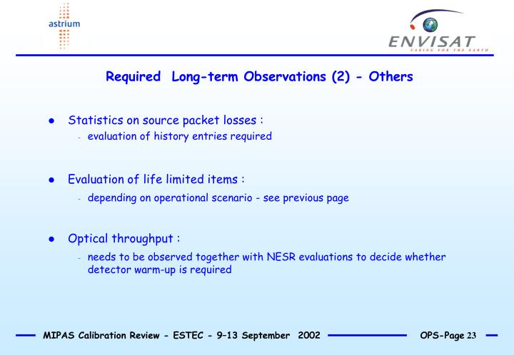 Required  Long-term Observations (2) - Others