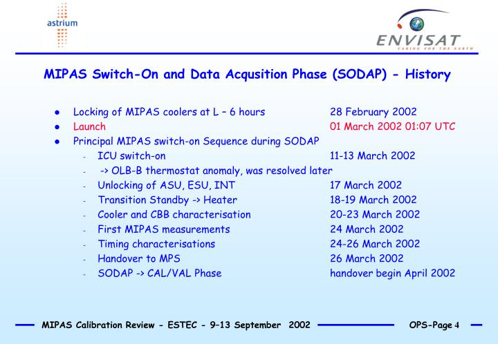 MIPAS Switch-On and Data Acqusition Phase (SODAP) - History