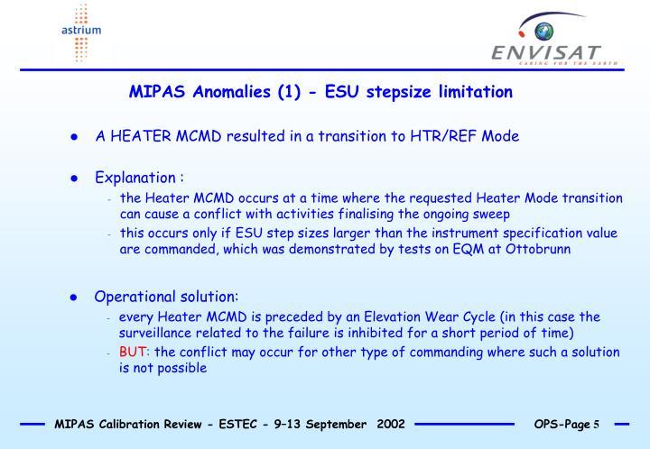 MIPAS Anomalies (1) - ESU stepsize limitation
